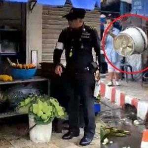 Municipal officials attacked trying to clear vendors off the Chiang Mai sidewalk