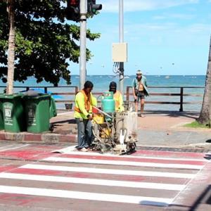 Beach Road zebra crossings repainted