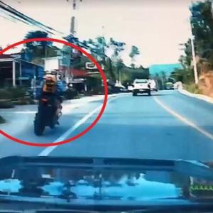"Video: ""Negligent"" foreign tourist on big bike slams into Thais"