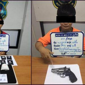 Fully loaded: Phuket Police arrest eight on drugs, guns charges
