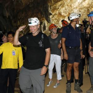 Australian members of the Thai cave rescue team visit Tham Luang cave