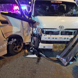 One injured in Patong Hill collision between two minivans & two sedans