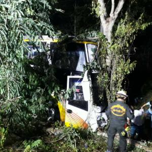 Two injured as bus crashes into tree in Lampang
