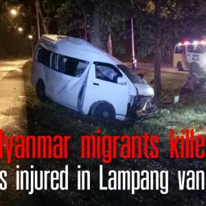Two Myanmar migrants killed, 7 others injured in Lampang van crash