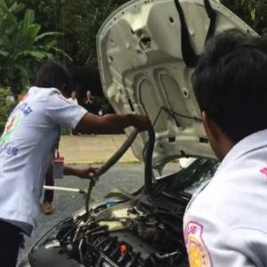 Thais scramble for the lottery vendors as two meter long King Cobraslithers into Civic engine compartment