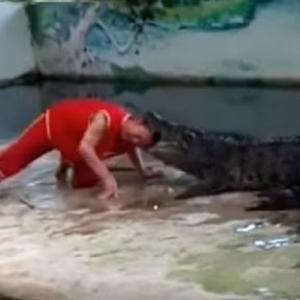 Watch the terrifying moment Koh Samui zookeeper's stunt with a crocodile goes horribly wrong
