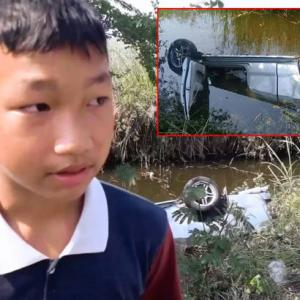 Boy hero, 14, jumps in khlong to save driver in Cha-Am - but he's too late