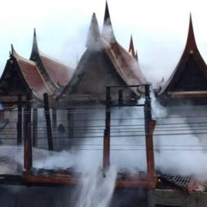 Fire damages temple in Ayutthaya