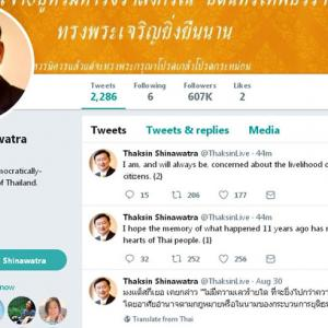 Thaksin tweets his concern for fellow Thai citizens on anniversary of 2006 coup